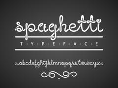 Vector spaghetti typeface Stock Illustration