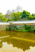 Himeji Jo Castle Sangoku Moat Ramparts Reflection - stock photo