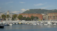 Panoramic view of Port Lympia in Nice on a sunny day - stock footage