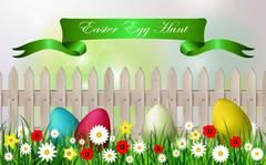 Easter egg hunt background - stock illustration