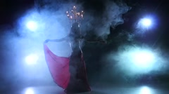 Belly dancer girl go on dancing with candles, head, black, smoke, slow motion - stock footage