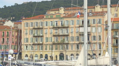 Beautiful building in the Old Harbor in Nice Stock Footage