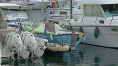 Close up of sailboats anchored in Port Lympia in Nice - stock footage