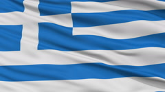 Close Up Waving National Flag of Greece - stock footage