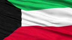 Stock Video Footage of Close Up Waving National Flag of Kuwait