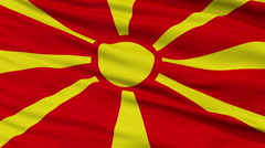 Close Up Waving National Flag of Republic of Macedonia - stock footage
