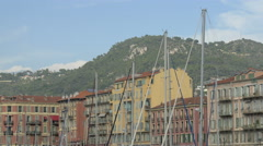 Sailboat masts seen in Port Lympia in Nice Stock Footage