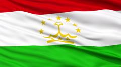 Close Up Waving National Flag of Tajikistan - stock footage