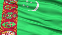 Close Up Waving National Flag of Turkmenistan - stock footage