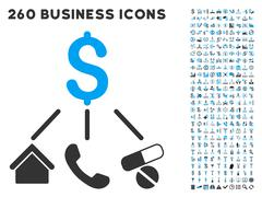 Life Expenses Icon with Flat Vector Set Stock Illustration