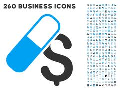 Medication Business Icon with Flat Vector Set Stock Illustration