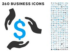 Money Care Hands Icon with Flat Vector Set Stock Illustration
