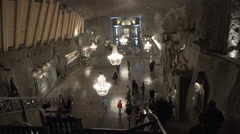 Underground salt mine main hall - Wieliczka, Polland Stock Footage