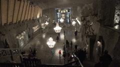 Underground salt mine main hall - Wieliczka, Polland - stock footage