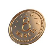 Gold coin - March 8 - stock illustration