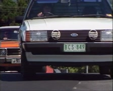 Stock Video Footage of 1980s Cars & Traffic Passing Through Dangerous Intersection