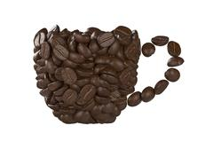 Cup of coffee beans on white background Stock Illustration