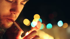Male Lighting Up A Cigarette Close Up-Shot Stock Footage