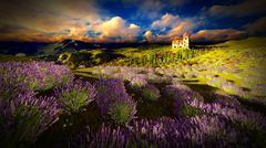 Castle towering over lavender fields Stock Illustration