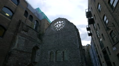 Low angle view of Winchester Palace's ruins in London Stock Footage