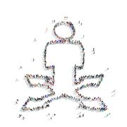 people  shape  man direction arrows - stock illustration