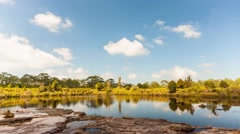 4K Time-lape, Lake under blue cloudy sky. - stock footage