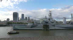 HMS Belfast museum seen from the riverside in London Stock Footage