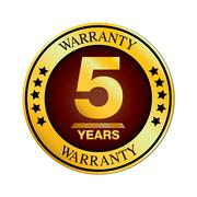 Five Year Warranty Design isolated on white background. Stock Illustration