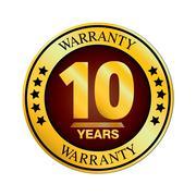 Ten Year Warranty Design isolated on white background. - stock illustration