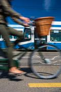 City transportation concept - commuting methods - on bike, by car, by bus, yo Stock Photos