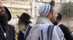 Singing  and pray jewish men in Western Wall - Jerusalem Stock Footage