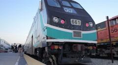Amtrak metrolink train at LA Union Station terminal Stock Footage