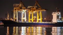 4K Time-lapse, Big crane bridge shipping container. - stock footage