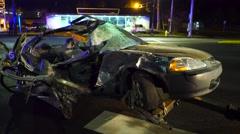 Mangled Car After A Crash Stock Footage