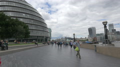 Walking near the modern City hall of London Stock Footage