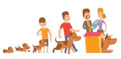 Dog life vector. Happy puppy family members - stock illustration