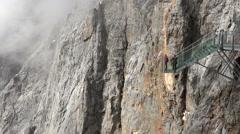 Suspension bridge in mountains - Alps, Dachstein, Austria Stock Footage