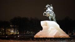 Bronze Horseman winter evening, St. Petersburg Stock Footage