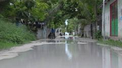 Flooded street - Maldives Island Stock Footage