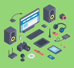Vector set of isometric computer devices icons - stock illustration