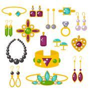 Flat jewelry stones vector illustration - stock illustration