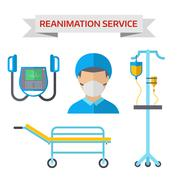 Ambulance reanimation symbols vector illustration - stock illustration