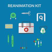 Ambulance reanimation icons vector illustration - stock illustration