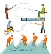 Fishing fishermen people Piirros