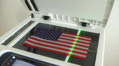 Patriot of his country's flag copies Stock Footage