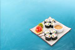 Sushi roll set with seaweed and sauce Stock Photos
