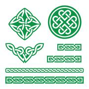 Celtic green knots, braids and patterns - vector Stock Illustration