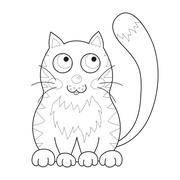 Cartoon smiling gentle kitty with stripes sit, coloring book page for children - stock illustration