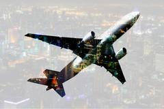 Double exposure commercial airplane with blur cityscape background Stock Photos