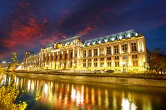 Bucharest at Sunset.Palace of Justice Stock Photos